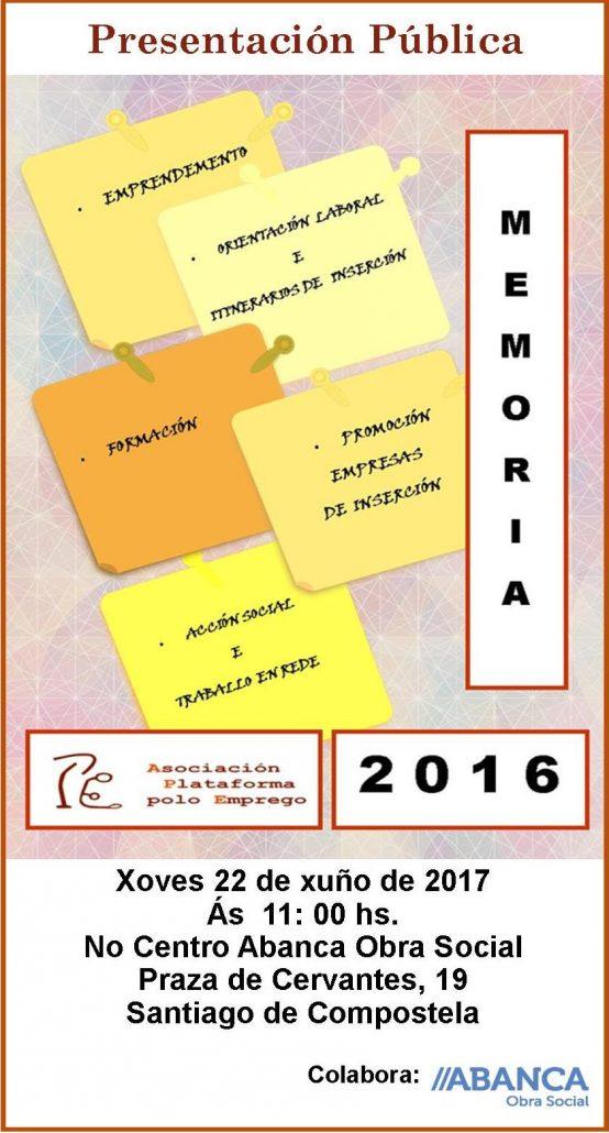 memoria actividades 2016 Plataforma polo Emprego